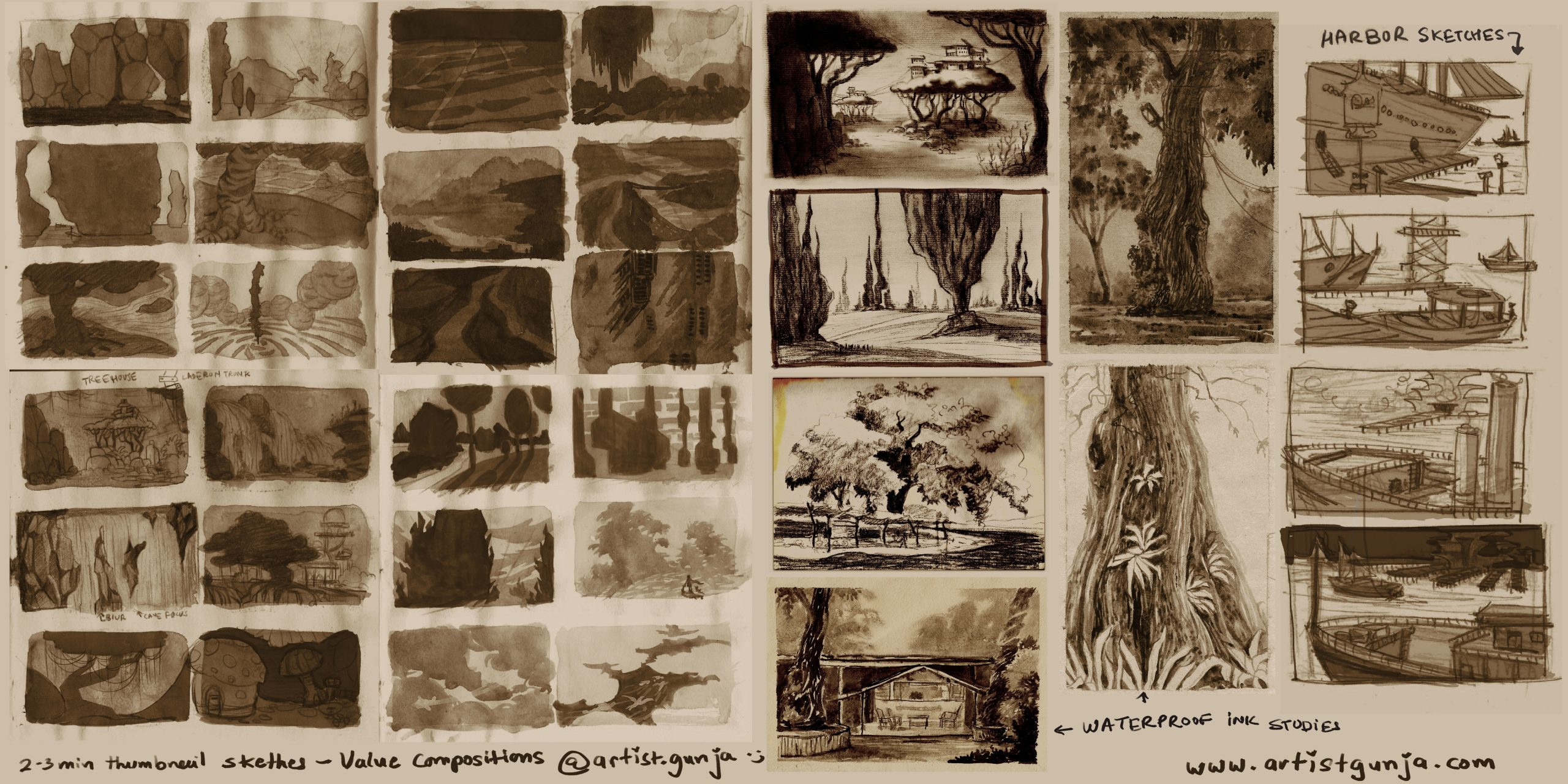 Thumbnails sketches concepts – artist gunja